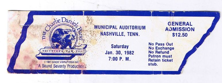 Volunteer Jam Ticket, 1982