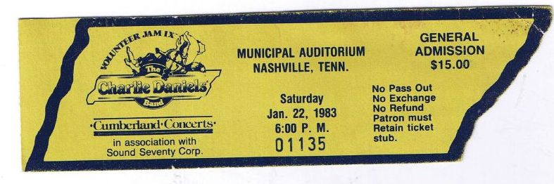 Volunteer Jam Ticket, 1983