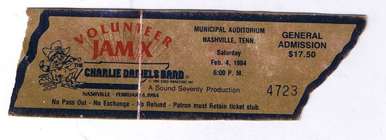 Volunteer Jam Ticket, 1984
