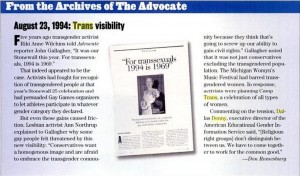 Trans Visiblity, The Advocate Archives